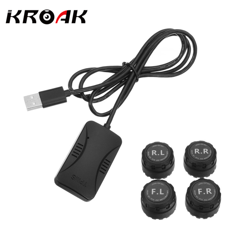 цена Tire pressure sensor for automobile Monitoring System Car 4 Sensors Alarm Tire Temperature System for Android Phone Control