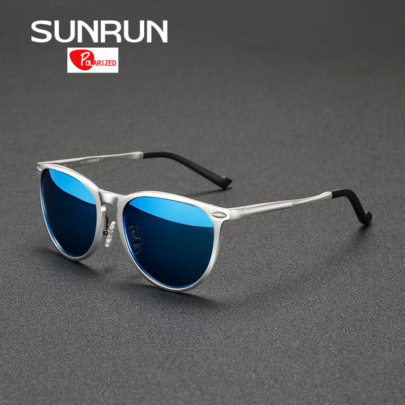 SUNRUN Men font b Polarized b font Sunglasses Brand Designer Aluminum Magnesium Round Sun Glasses font