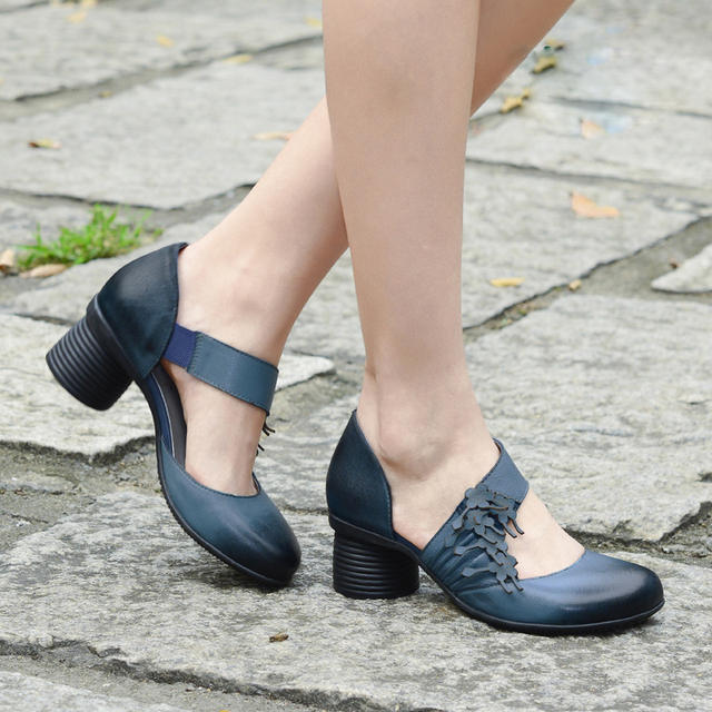 High heels women pumps elegant ladies handmade leather women shoes 2017 spring autumn summer heels