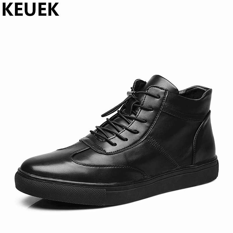 Spring Autumn Fashion Men High-top shoes Genuine leather Breathable Casual shoes Male Loafers Youth Sneakers Flats 3A mens s casual shoes genuine leather mens loafers for men comfort spring autumn 2017 new fashion man flat shoe breathable