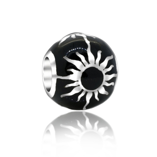 Everbling Sunburst Flaming Sun Black 100 925 Sterling Silver Charm Beads Fit Pandora European Charms