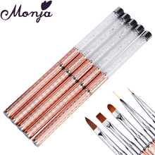Monja Nail Art Metal Rhinestone Painting Brush Acrylic Liquid Powder Carving UV Gel Polish Coating 3D Flower Grids Drawing Pen