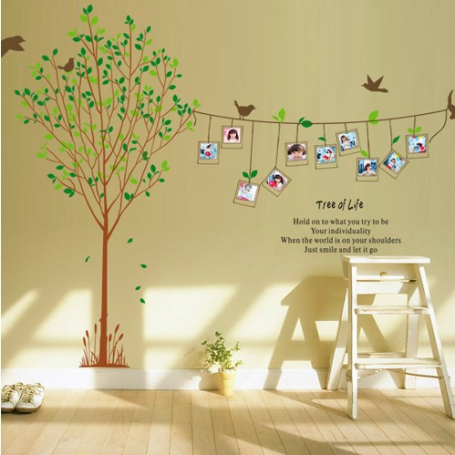 1 set 67*90 inch Removable PVC Wallpaper Photo Frame Family Tree ...