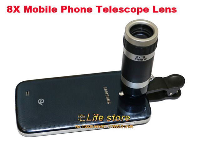 8x zoom optical mobile phone telescope lens clip universal for