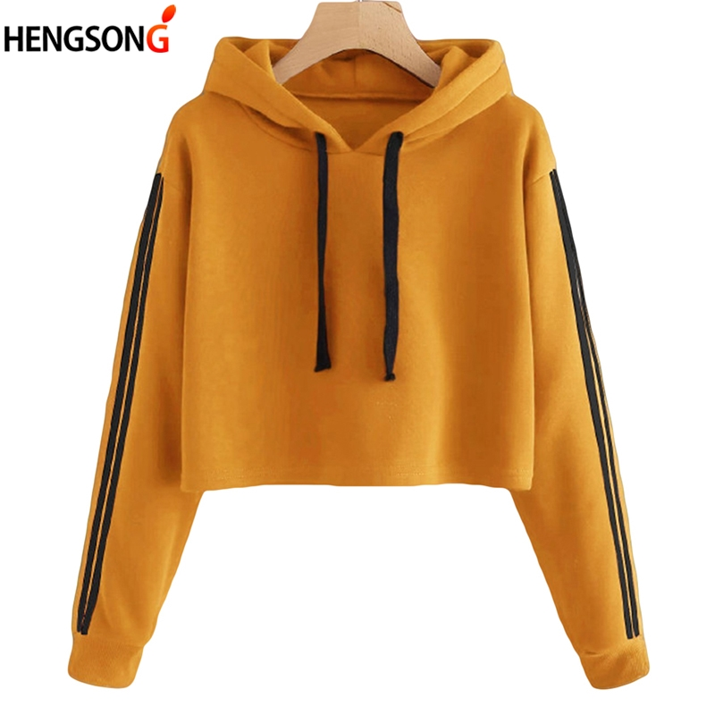 women hoodies sweatshirts autumn spring outerwear women clothing sweat cut short hoody tops female striped crop hoodies