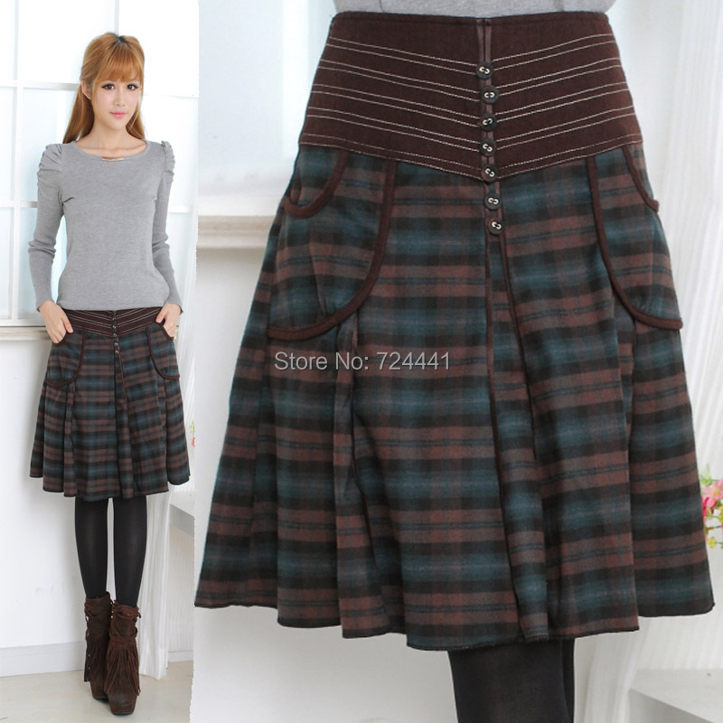 Spring Women Skirts Arrival Casual Plaid Skirt Size Line Large Woolen