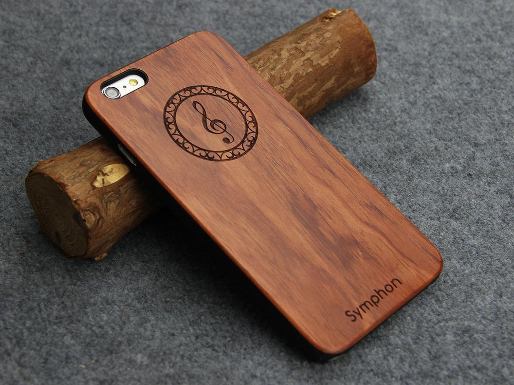 הכי חדש 6 S 5 SE 8 7 טלפון מוסיקה Symphon חקוק עץ טבעי עץ במבוק מקרה עבור Apple iPhone X 6 6 S 5 5S SE 7 8 בתוספת מחשב בחזרה