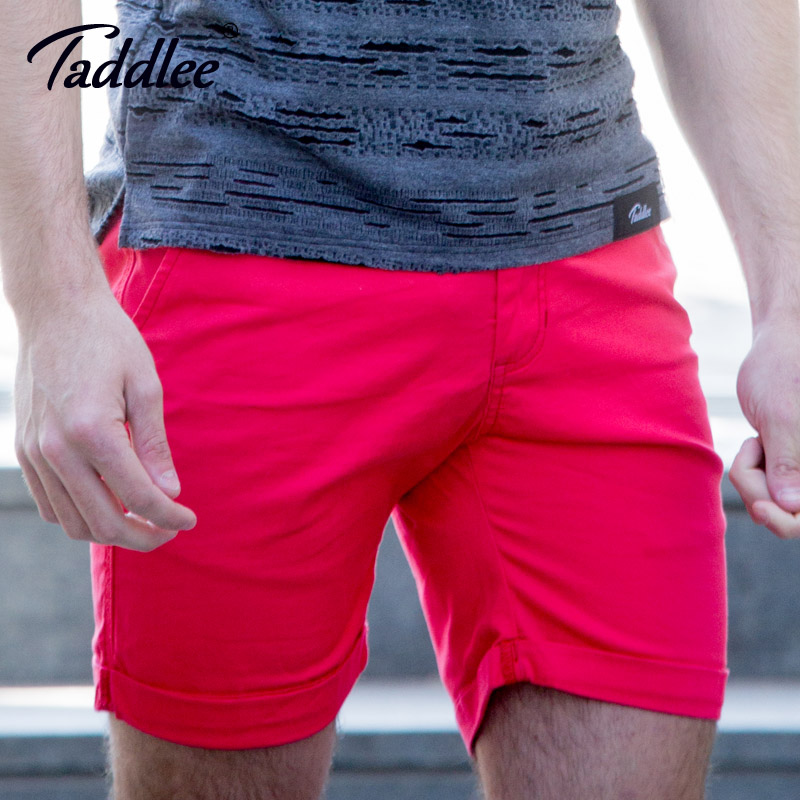 Taddlee Brand Men Cotton Shorts Style Breathable Zipper Clothing Sweat Shorts Solid Slim Fit Cargo Khaki Denim Knee Length Trunk