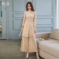 RG Women Elegant Lace Pants Suit Long Sleeve Long Coat Jacket Wide Leg Pant Suits Office Lady 2 Piece Set Autumn Plus Size 2XL