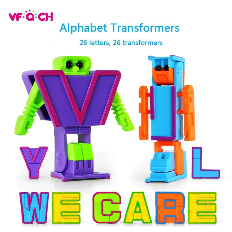 26 Letter Transformation Robots PVC Alphabet Deformation Robotic Doll Action Figure Toys for Kids Gift Educational Puzzle Toy