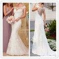 Vestidos De Novia 2016 Mermaid Lace White Wedding Dress tribunal trem elegante Vestidos De noiva Sheer voltar Vestidos De casamento