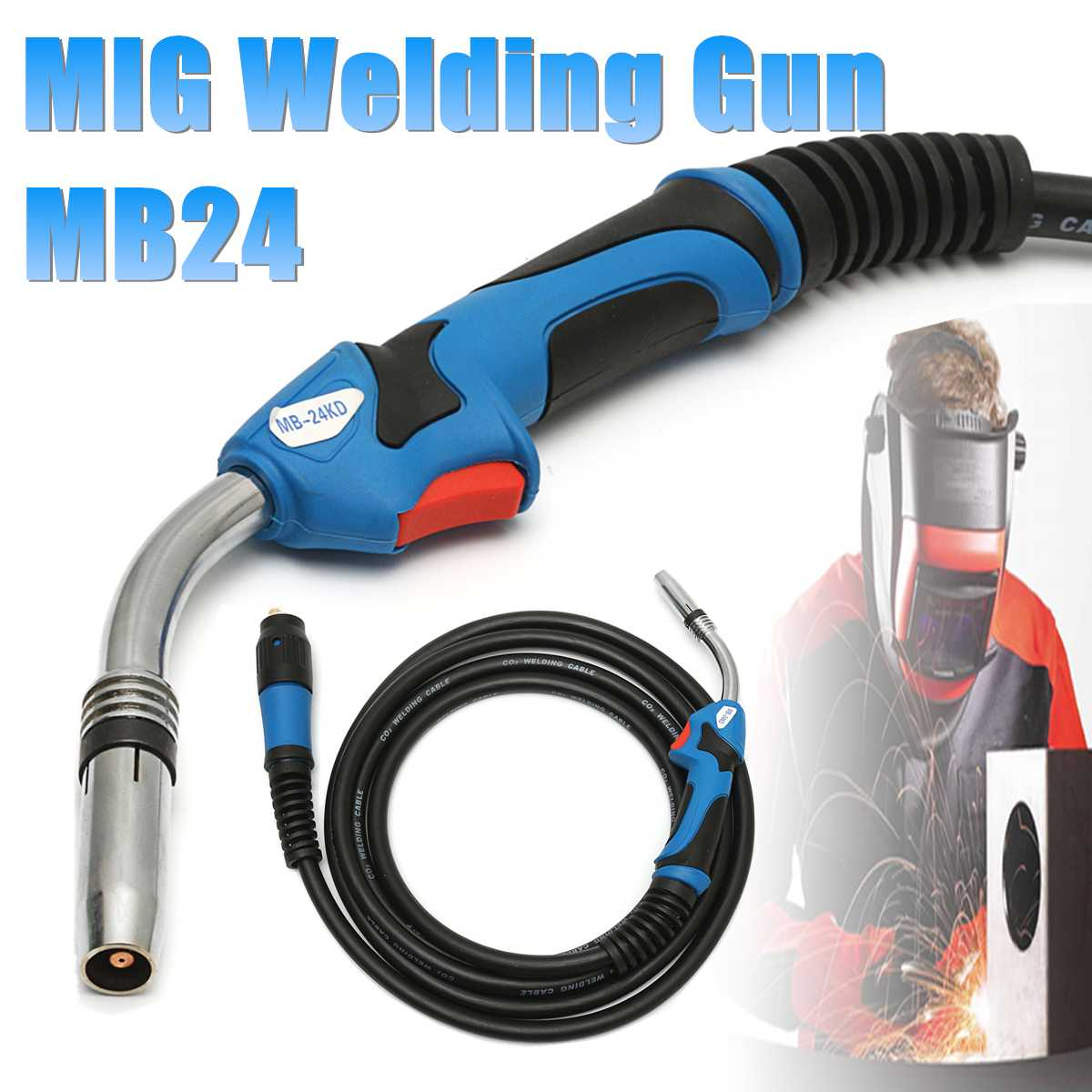 MB24 MIG Welding Gun-Torch  with 5 Meter Length Lead Electric Welder Torch Stinger PartsMB24 MIG Welding Gun-Torch  with 5 Meter Length Lead Electric Welder Torch Stinger Parts