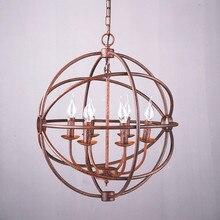 Лофт Nordic Американских ретро шаровидные железа свеча люстра Птичья Клетка Бар Ресторан Промышленности глобус люстра 52 см