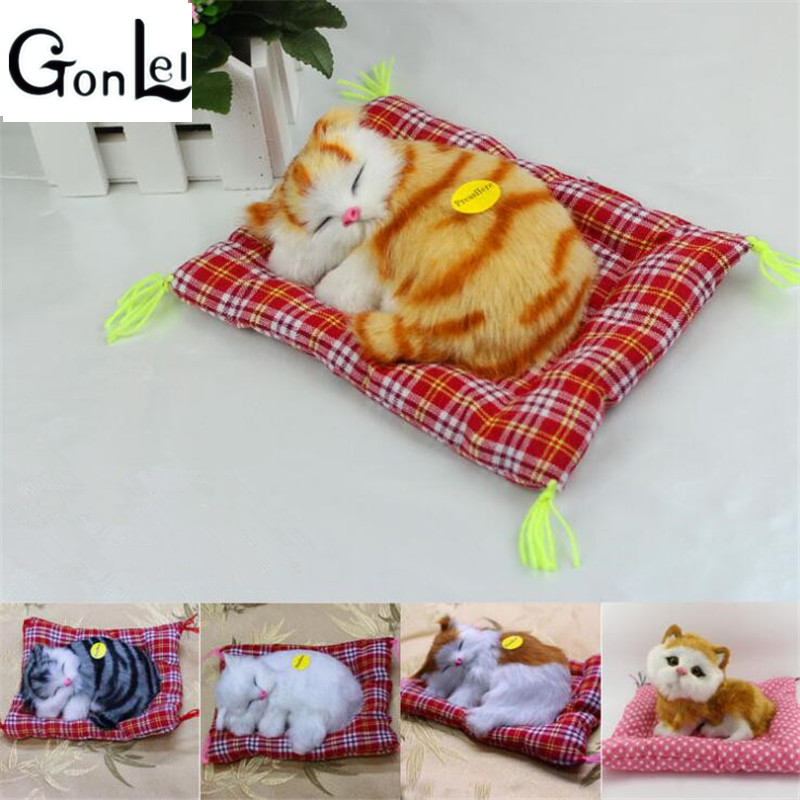 GonLeI Lovely Simulation Animal Doll Plush Sleeping Cats Toy with Sound Kids Toy Birthday Gift Doll Decorations stuffed toys