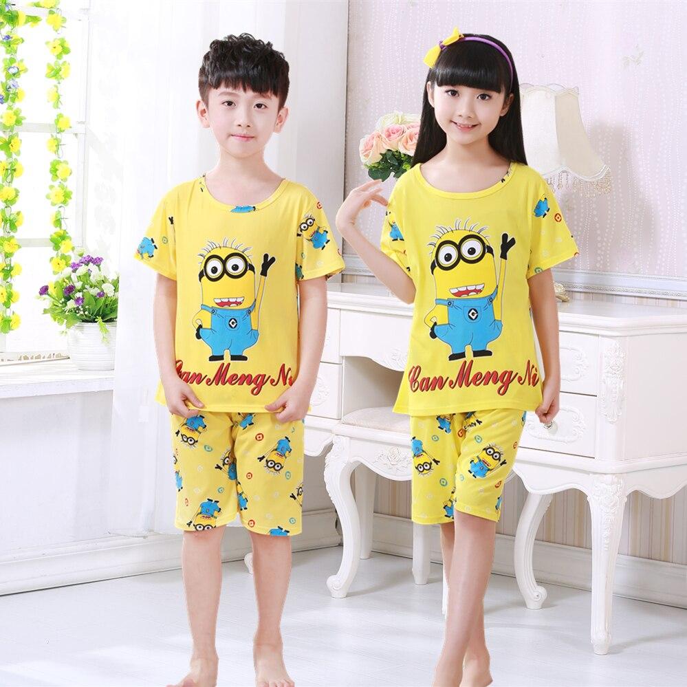 Children's   pajamas     set   summer short sleeved boy pyjamas girls cute cartoon home cloth big children's sleepwear   set   kids   pajamas