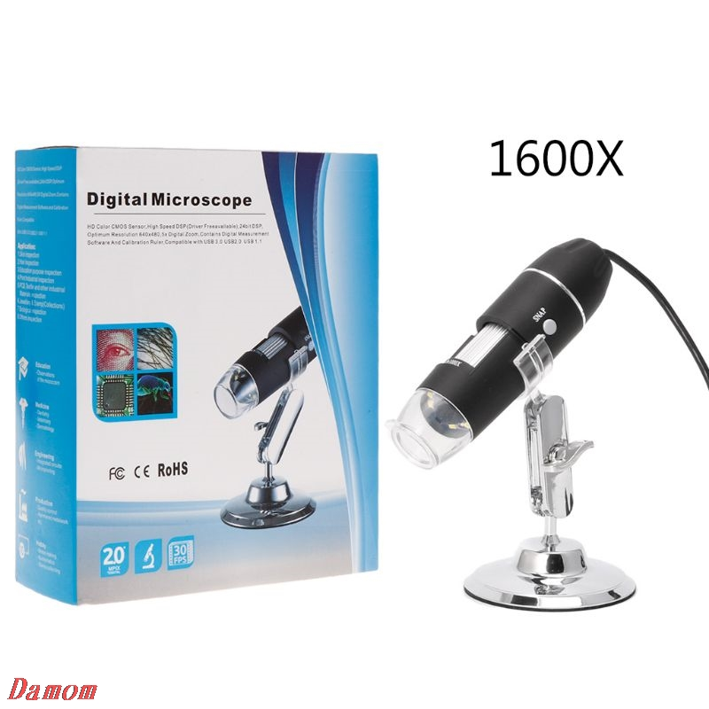 <font><b>1600X</b></font> <font><b>USB</b></font> Digital <font><b>Microscope</b></font> Camera Endoscope 8LED Magnifier with Metal Stand image