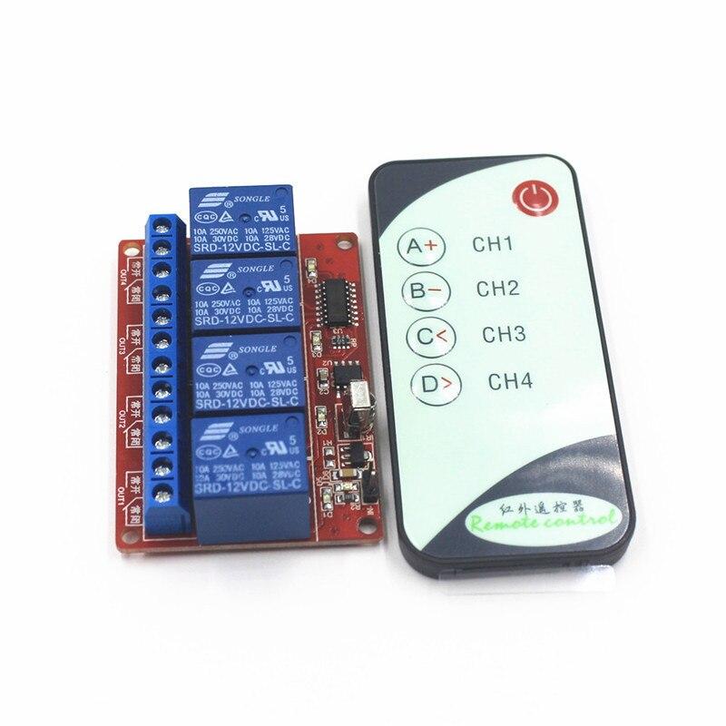 4 Channel Way 12 V 10A IR Sans Fil Commutateur de Commande À Distance Récepteur Relais, avec une Télécommande Infrarouge Transmmiter