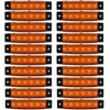 20 PCS Amber LED Side Marker Lights For Truck Trailer Bus Clearance Lamp 12 24V