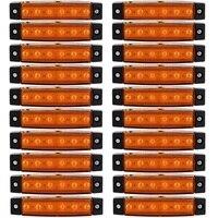 20 PCS Amber LED Side Marker Lights For Truck Trailer Bus Clearance Lamp 12 24V