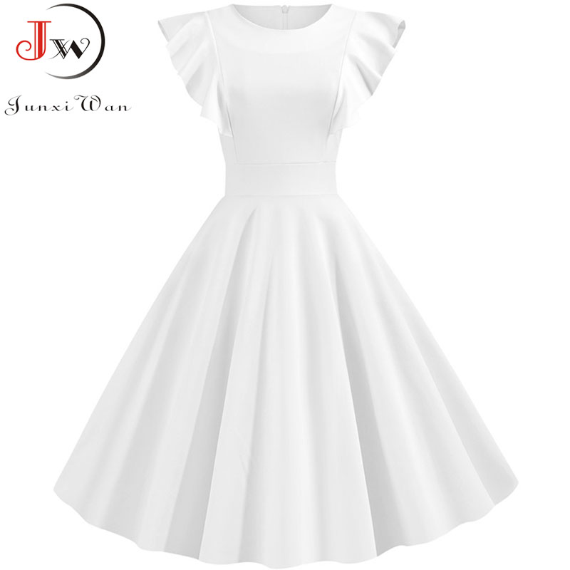 2019 Summer White Petal Sleeves Cocktail Party Vintage Dress  50s 60s Elegant Robe Femme Casual Solid Slim Office Dress Vestidos