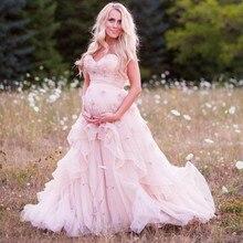 Schwangere abendkleid Liebsten Verziert mit Blumen Rosa Eine Linie Mutterschaft Abschlussball-partei-kleid Customized abendkleider lang 2016