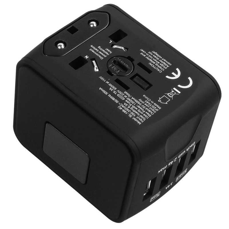 Дорожный адаптер Международный универсальный адаптер питания все-в-одном с 3.4A 4 USB по всему миру настенное зарядное устройство для Великобритании/ЕС/AU/Азии