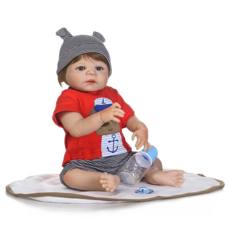 2017 New 57cm Lifelike Reborn Babies Soft Full Body Silicone Doll Reborn Brinquedos Play House Toy for Child Birthday Gift 2016 cotton body reborn babies lifelike princess girls doll toy rooted mohair gift for baby reborn poupon brinquedos new year