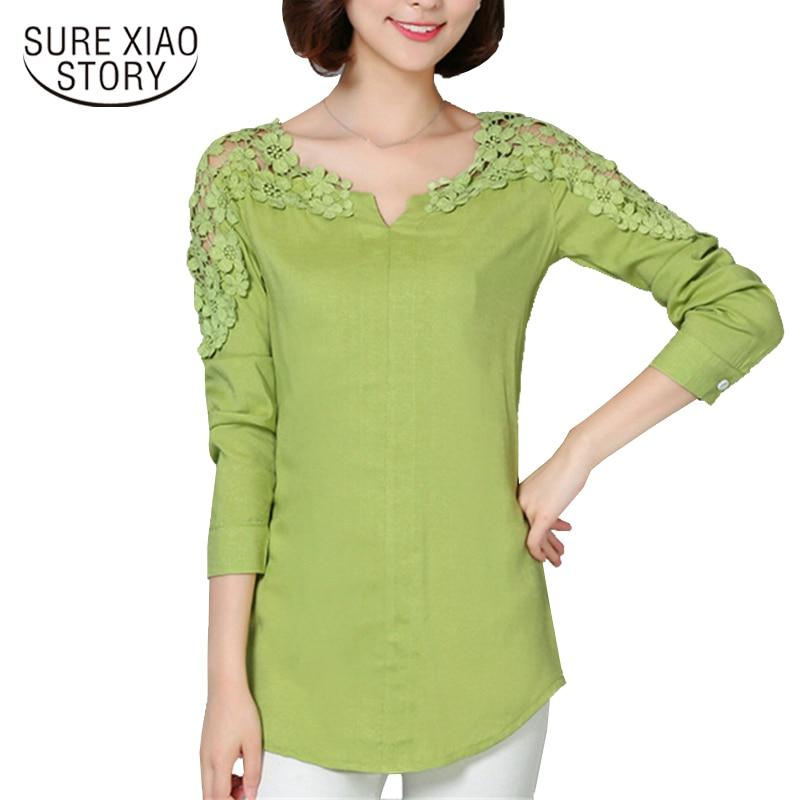 2017 New Camisas Femininas Lace Sleeve   Blouse     Shirt   Women V-Neck Floral Lace Sexy Casual Linen   Shirts   Plus Size Lady   Shirt   185B