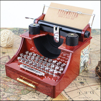 Retro Old Style Typewriter machine Music Box creative retro brown Musical Box with a drawer home decoration craft 14.5x13.5x11cm