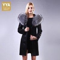 Женские пальто Европа и Америка кожа лиса меховой воротник Средний Длина женские куртки и пальто 3D на молнии с принтом шуба большой Размеры