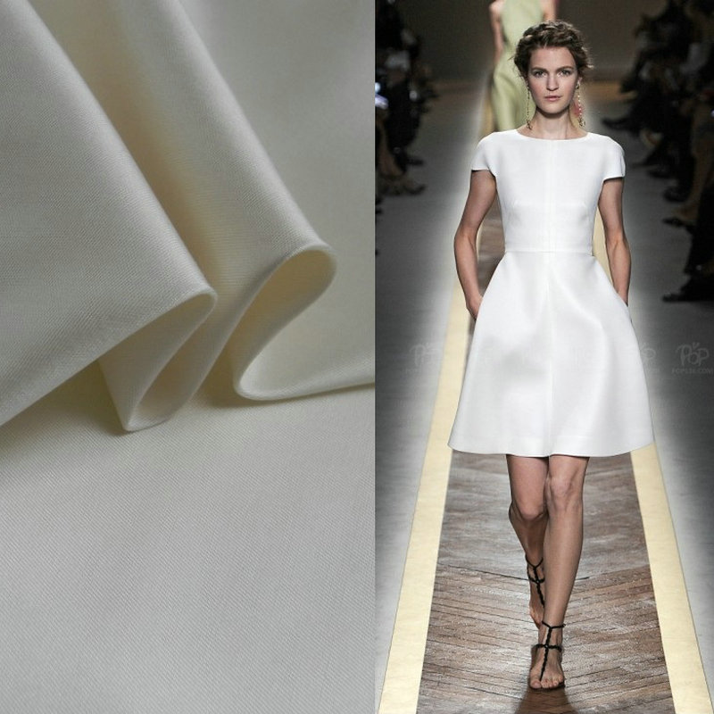 White Heavy silk wool fabric