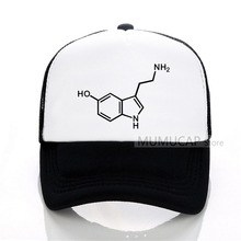 Molecule Acid Psychedelic Chemistry Mens Baseball caps Printed cap summer Mesh Serotonin hat