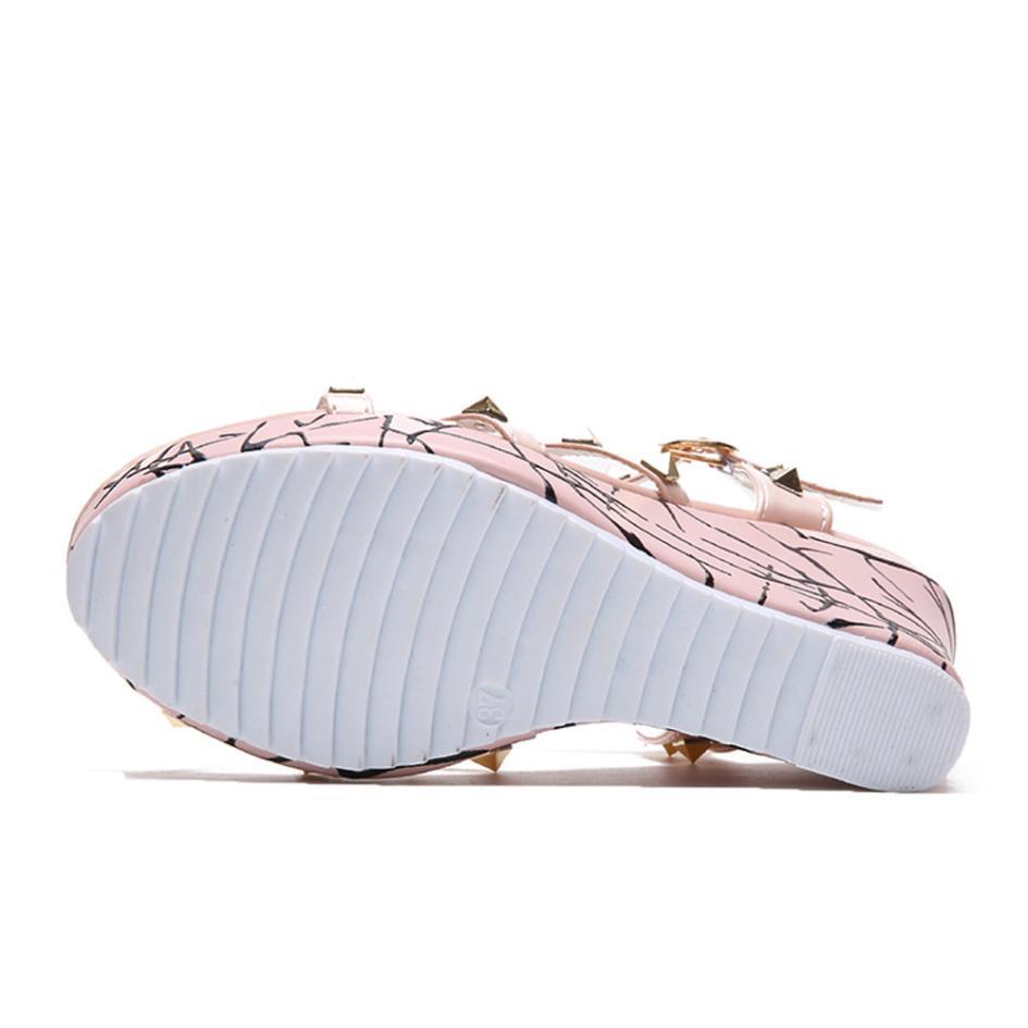 Summer Lady Fashion Wedge High Heels Sandals Elegant Rivets Women Heels Fashion Platform High Heels Wedge Sandals Female Shoes 11