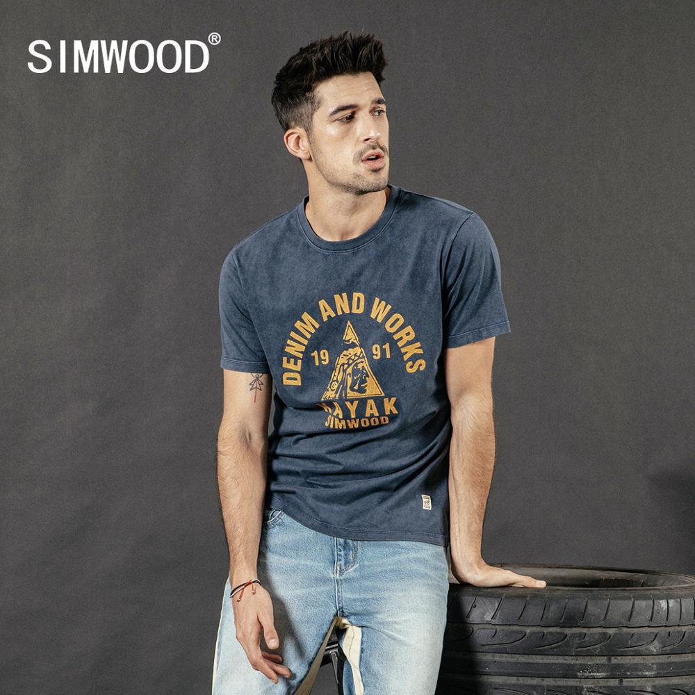 SIMWOOD 2019 summer new 100% cotton t-shirt men snow wash vintage tops fashion tees plus size t shirt letter print tshirt 190253 Футболка