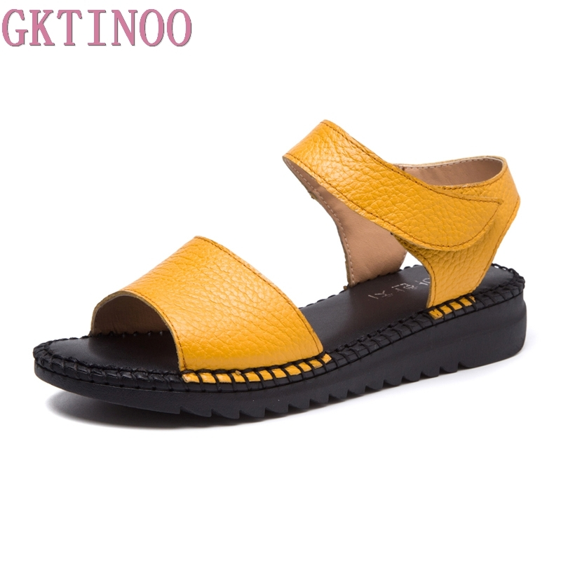 GKTINOO 2018 New Arrival Open Toe Women Sandals Summer Handmade Retro Soft Genuine Leather Women Flat Sandals Hook&Loop Shoes xiuteng summer flat with shoes woman genuine leather soft outsole open toe sandals flat women shoes 2018 fashion women sandals