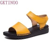 Женские сандалии с открытым носком GKTINOO, летние сандалии ручной работы из мягкой натуральной кожи в стиле ретро, женские сандалии на плоской подошве, обувь на липучке, 2020