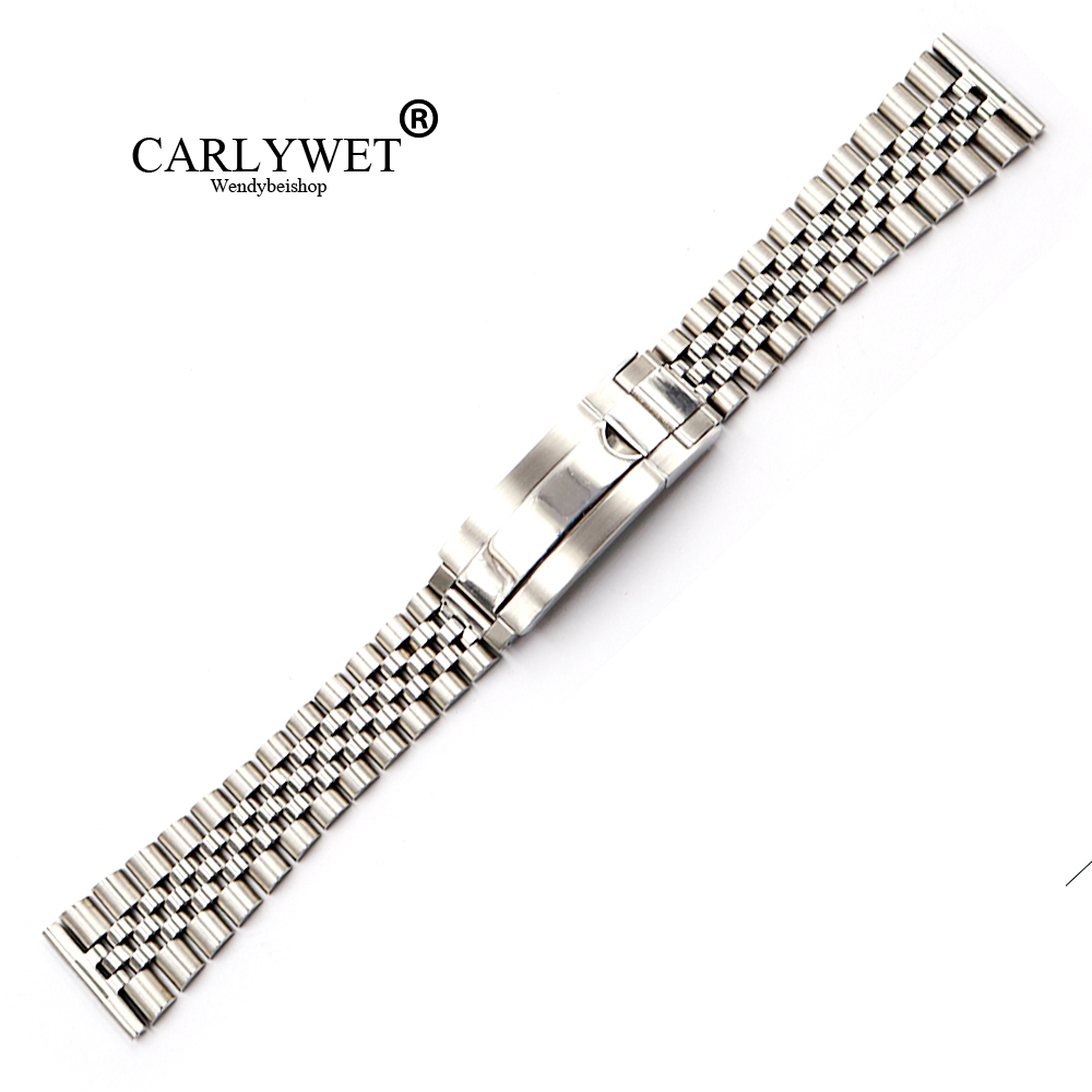 CARLYWET 20 22mm Wholesale Stainless Steel Glide Lock Replacement Wrist Watchband Strap Bracelet For Omega IWC Tudor Seiko все цены