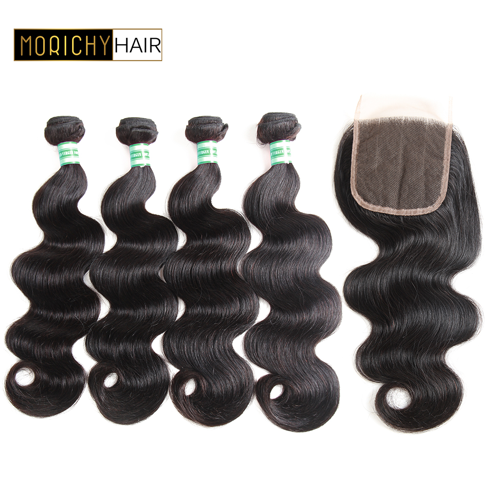 MORICHY 4 Bundles With Closure Body Wave Brazilian Human Hair Weave Bundles With Lace Closure Middle Part Remy Hair Extensions