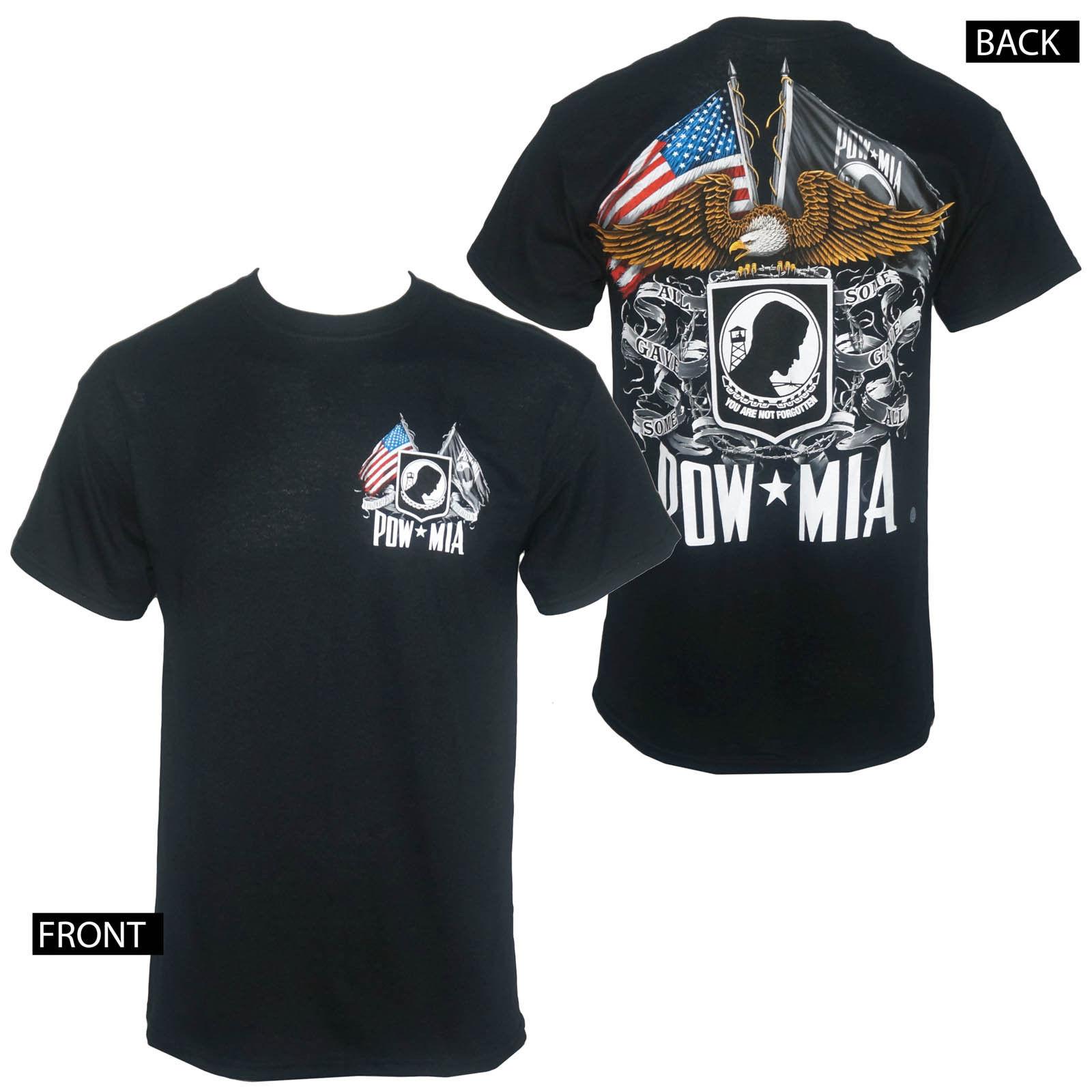 gildan licensed military pow mia double flag menu0027s black tshirt m3xl new - Pow Mia Hat