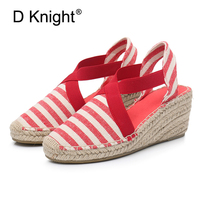 Summer Striped Women High Heels Wedges Sandals Fashion Gladiator Platform Espadrilles Shoes Ladies Sexy Closed Toe Sandals White