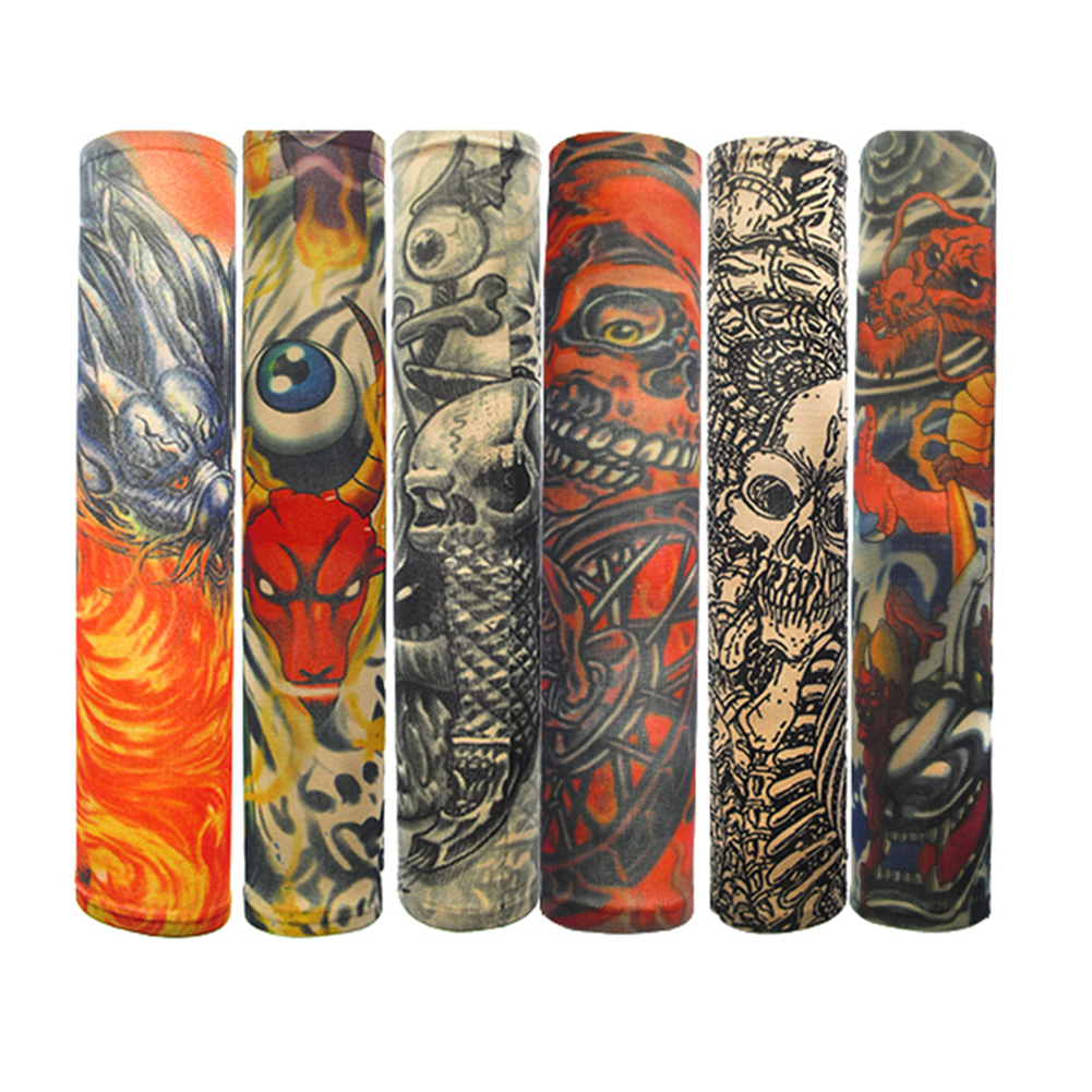 6pcs/set Fashion Men And Women Tattoo Arm Leg Sleeves High Elastic Tattoo Sleeve Seamless Outdoor Anti-sunshine Sleeves
