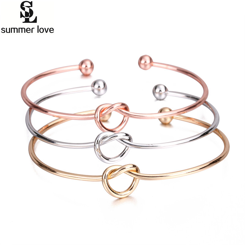 Silver Color Love Knot Bracelet Vintage Cuff Bracelet Bangles Women Jewelry Wholesale