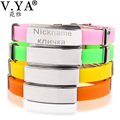 V.YA Silicone Engraving Bracelets for Woman Man Customized Jewelry Unique Stainless Steel Bracelet Valentine's Day Gifts