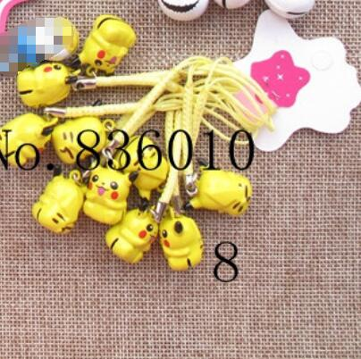 Hot Sale 50 pcs Cartoon Poke mon Charms Bell Pendant With Strap Cellphone Key Chains <font><b>Toy</b></font> <font><b>XX</b></font>-100 image