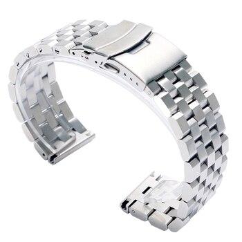 22ミリメートル20ミリメートルシルバー/ブラックステンレス鋼固体リンク時計バンドストラップフォールディングクラスプ付き安全男性交換コレア·デ·リロイ