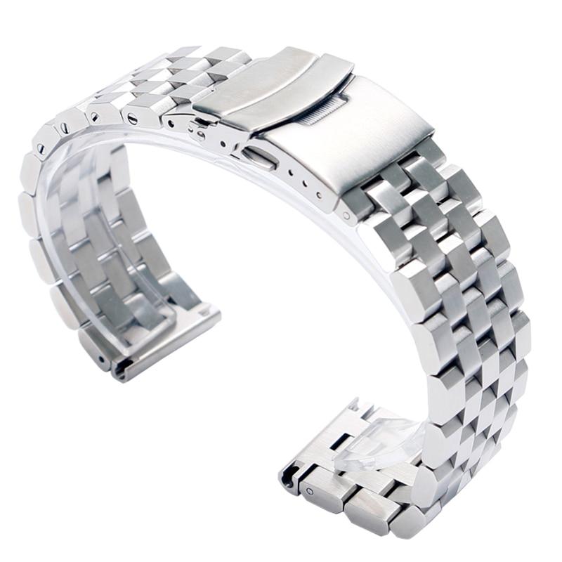 22mm 20mm Argento/Nero In Acciaio Inox Solido Legame Watch Band Strap Chiusura Pieghevole con Sicurezza di Ricambio Uomini Correa De Reloj
