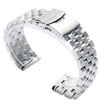 22mm 20mm Silver/Black Stainless Steel Solid Link Watch Band Strap Folding Clasp with Safety Men Replacement Correa De Reloj - DISCOUNT ITEM  39% OFF All Category