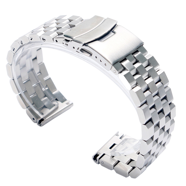 22mm 20mm Silver/Black Stainless Steel Solid Link Watch Band Strap Folding Clasp
