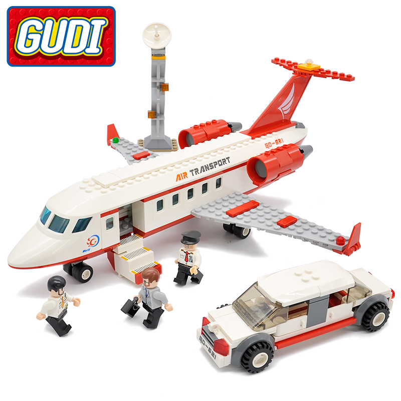 GUDI City Airport VIP Private Jet Flugzeug anc Auto Blöcke 334 stücke Ziegel Baustein Pädagogische Spielzeug Für Kinder