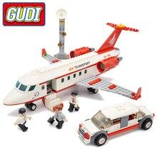 GUDI City Airport VIP Private Jet Plane Bloques 334 unids Ladrillos Juegos de Bloques de Construcción de Juguetes Educativos Para Niños